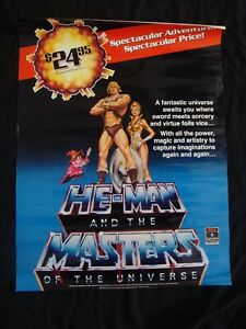 HE-MAN MASTERS OF THE UNIVERSE video poster original store promo 1983 Filmation