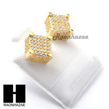 Iced Out Sterling Silver .925 Lab Diamond 8mm Square Screw Back Earring SE028G