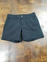 Women's American Eagle Black Chino Shorts Size 0 Midi Flat Front Pockets