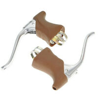 1pr DIA COMPE DC 204 QR BRAKE LEVERS with brown hoods road bike old skool style