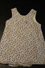 Baby Gap White Purple Green Flowered V-Neck Sleeveless Dress 12-18 mos Cotton