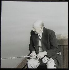 Glass Magic Lantern Slide MAN FISHING FROM BOAT WITH ROD C1920 PHOTO FISHERMAN