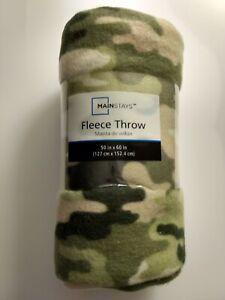 "NWT!! Camo Warm Cozy Super Soft Comfort Fleece Throw Blanket 50x 60"" Green Tan"