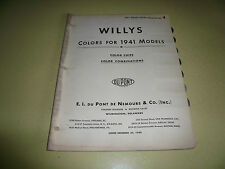1941 Willys DuPont Pyralux Color Chip Paint Sample - Vintage