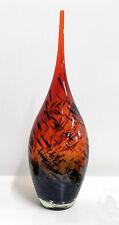 Vaso in vetro soffiato colorato rosso arancio moderno  H.50