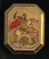 Russian Orthodox St George icon hand-painted on wood by Adele LeBuffe Gregos