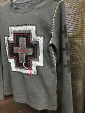 Double D Ranch Wear Slightly Distressed Gray Red Celtic crosses with embroidery