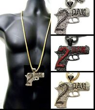 "Large Bling Gun 2Pac Iced Out Pendant Hip Hop Franco Chain 36"" Crystal Gold SET"