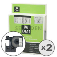 """2pk Black on Clear Label Tape Fit for DYMO 43610 D1 6mm 1/4"""""""