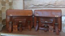 """12"""" Saddlebags Motorcycle Side Pouch Brown Real Leather Pouch Panniers 1pair"""