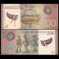 Nicaragua 200 Cordobas, 2014(2015),  P-213 New, Polymer, UNC>New Design