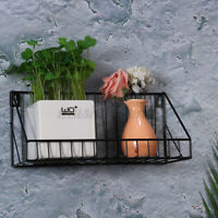 US DIY Wall Mount Metal Wire Rack Holder For Home Kitchen Storage Shelf Decors