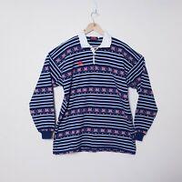 Vintage Canterbury Mens XL Navy Blue Australia Flag Long Sleeve Rugby Polo Shirt