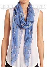 """ALEXANDER MCQUEEN blue CIRCUS TRICKS silk chiffon 52"""" scarf NWT Authentic $385!"""