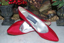 VINTAGE STUART WEITZMAN RED SATIN ELEGANT WOMEN'S HEEL PUMP SHOES SIZE 8 1/2 AA