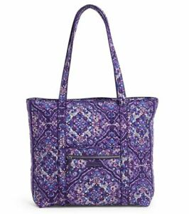 Vera Bradley Iconic Vera Tote Regal Rosette Purple Floral Extra Large Zip New