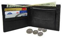 Black Men's Genuine Leather Plain Credit Card Coin Bifold Wallet U.S. SELLER