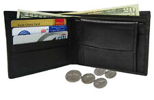 Black Men's Genuine Leather Plain Credit Card Coin Bifold Wallet FREE SHIP