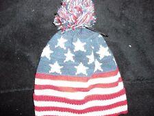 Tejido Sombrero Con Pom Pom, rojo, blanco y azul, a estrenar