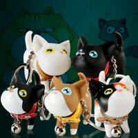 Cute Cat Doll with Bell PVC Pendant Keychain Key Holder Ring Bag Ornaments Gift