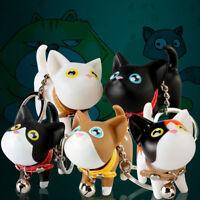 JI_ ALS_ Cute Cat Doll with Bell PVC Pendant Keychain Key Holder Ring Bag Orna