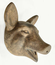 Vintage Ceramic Pigs Head Wall Hanging Sculpture