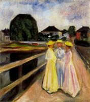 Three Girls on the Jetty Edvard Munch Art CANVAS Print Giclee Poster Small 8x10