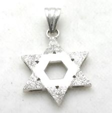 Vintage 14k white gold Jewish Star David Pendant brushed Large Judaica Estate