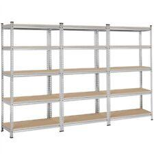 Adjustable Metal Shelves 5 Tier Garage Steel Storage Rack Heavy Duty 73in 3 Pcs