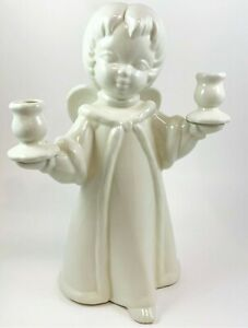 Angel Candle Holder Figure White Ceramic 1970s 13 inches