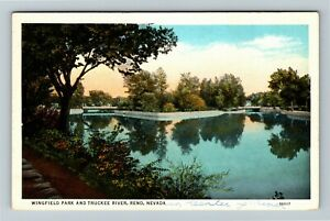Reno NV, Wingfield Park And Truckee River, Vintage Nevada Postcard