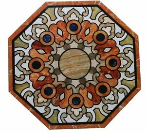 White Marble Coffee Table Top Inlay Mosaic Pietradura Handmade Art Home Decorate