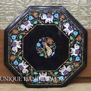 Marble Black Handmade Cafeteria End Table Top Lapis Peacock Inlaid Art Home Deco