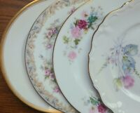 "4 Mismatched China 6"" Bread Dessert Plates Blue Pink Gray Platinum"