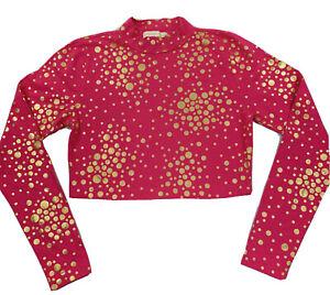 Nicki Minaj Women's Top Jr Large Pink Shirt Long Sleeve High Neck Crop