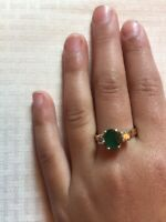 Stunning Lovely Fancy Gift~14k Gold Diamond Colombian emerald ring~Sz6~free ship