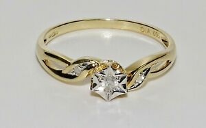 9ct Yellow Gold Diamond Solitaire Engagement Ring ~ size P