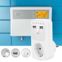 Dual USB Ue Enchufe Countdown Interruptor Hembra Temporizador Reloj de Timer