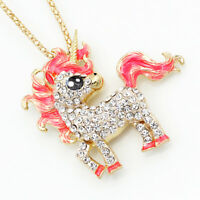 Betsey Johnson Enamel Crystal Unicorn Horse Pendant Chain Necklace/Brooch Pin
