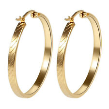 18K Gold Plated Stainless Steel Fashion Women Big Round Charm Hoop Earrings Gift