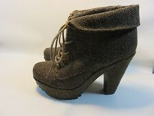 BLOWFISH Brown/Tan Tweed Ankle Booties Women's Size 7 Medium EUC