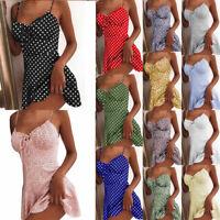 Women Floral Bodycon Short Mini Dress Party Club Wear Slip Dress Beach Sundress