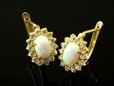 585 Gold Brisur 1 Paar Opal oval  mit Klappverschluß Ohrringe