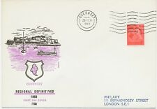 "GB 1969, Guernsey QEII 4 D red on superb FDC with FD-machine-cancel ""GUERNSEY"""