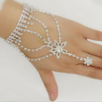 Fashion Jewelry Bracelet with Ring Chain Slave Rhinestone Wedding Bridal