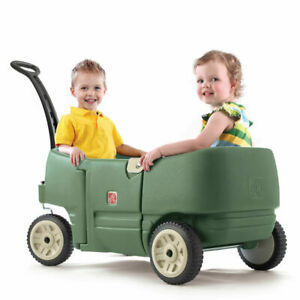 Step2 Kids Pull Wagon With Seatbelt Two Comfortable Molded-in Seats Green