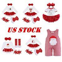 US Baby Girls Christmas Romper+Headband Outfit Xmas Costume Party Birthday Skirt