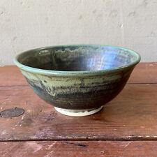 MCM  M. Carroll Studio Pottery Ceramic Bowl Green Matte Glaze 8.75
