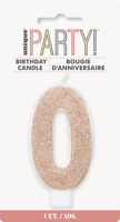 GLITTER ROSE GOLD NUMERAL CANDLE-0 BIRTHDAY PARTY SUPPLIES