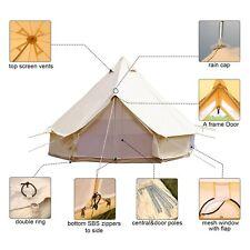 4Meter Beige Bell Tent Waterproof Cotton Canvas Large Glamping Outdoor Yurt Tent